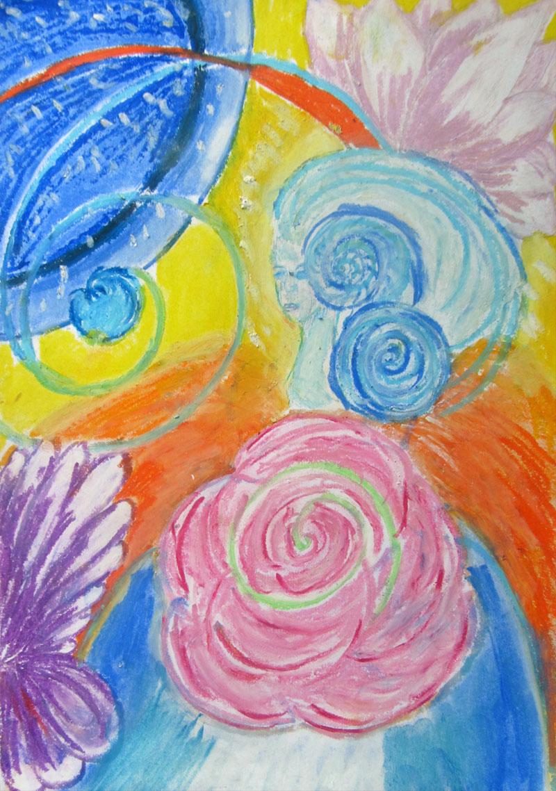 Pastelowe kreacje,kosmos,rysunek,kwiaty,kobieta,obrazek